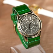 Image of Womens Wrist Watch / Handmade Vintage Leather Bangle Studded Bracelet Quartz Watch (WAT0231)