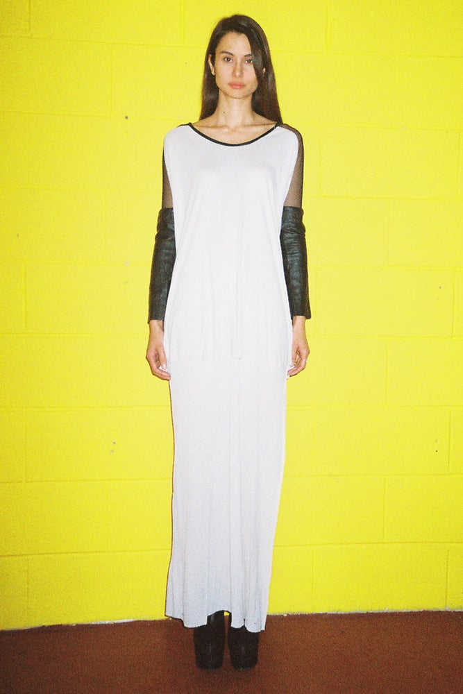 Image of Mesh, Leather and Rayon Maxi Dress