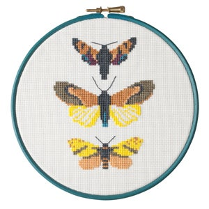 Image of Mustard Moth Trio cross-stitch PDF pattern