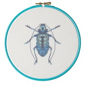 Image of Blue Beetle cross-stitch PDF pattern