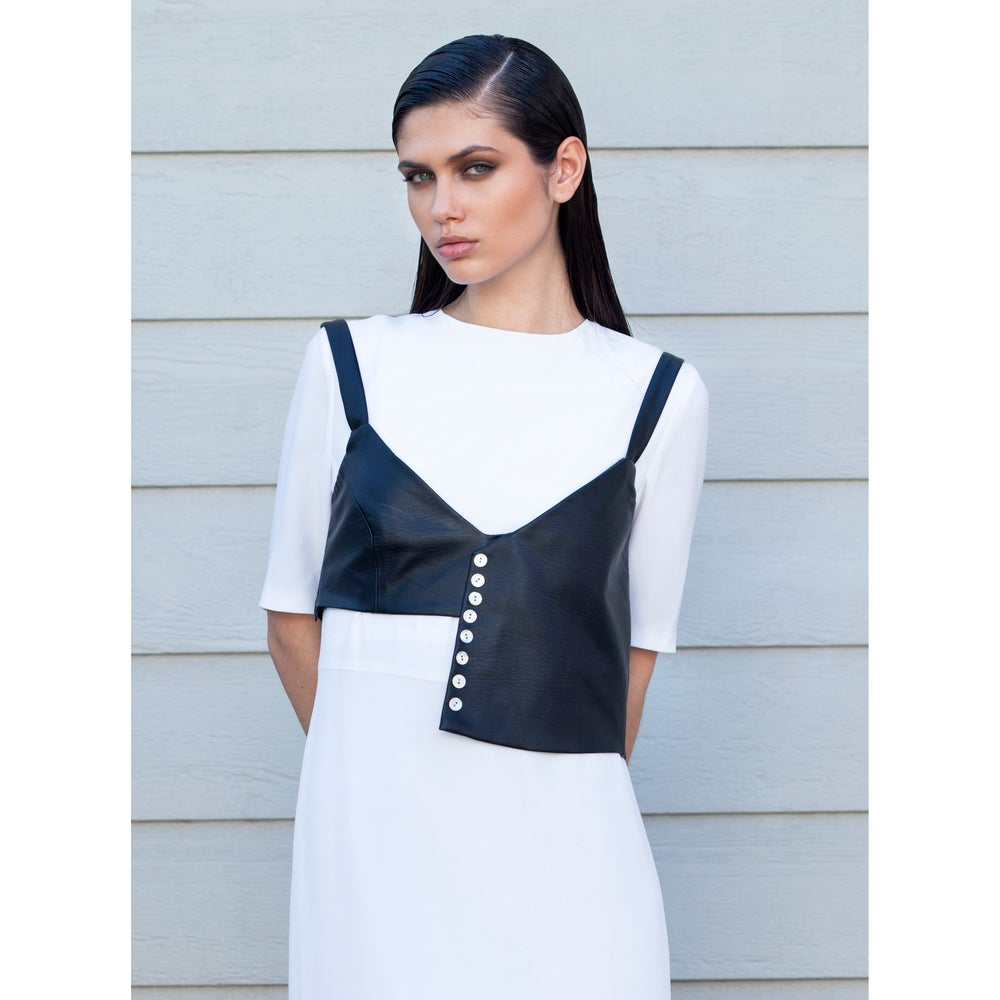 Image of Asymmetric leatherette top