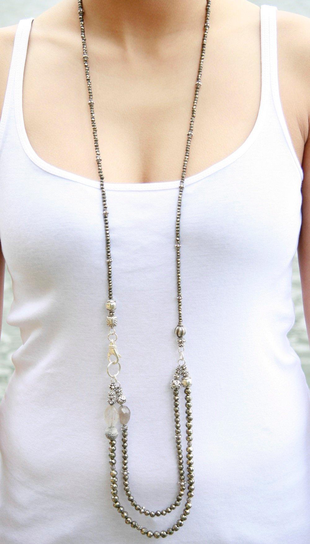 Long Pyrite Necklace
