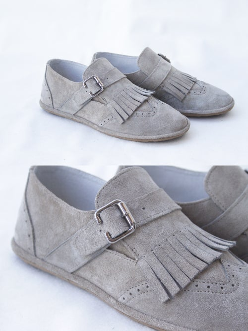 Image of Wingtip Brogues - Fringed Frost in Light grey Suede