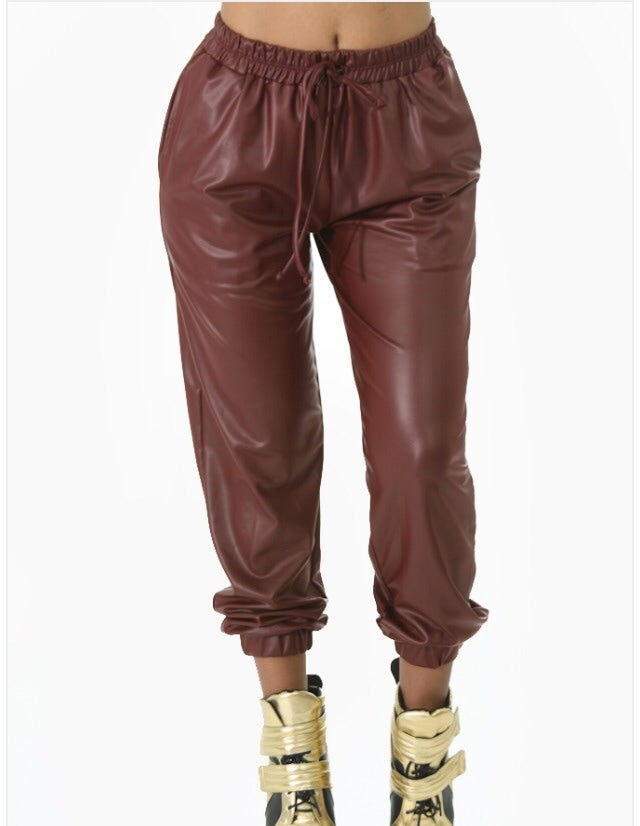 Image of Burgundy Faux Leather Joggers
