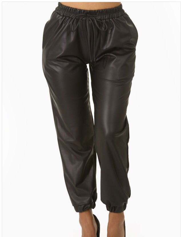 Image of Black Faux Leather Joggers