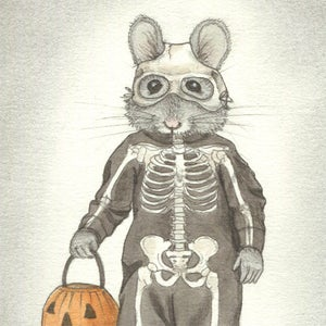Image of RETIRED: Trick or Treat Skeleton Mouse 4x6 print