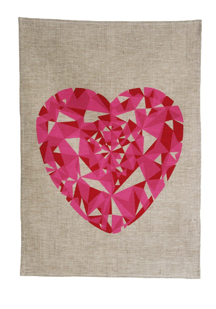 Image of Red Heart Tea Towel
