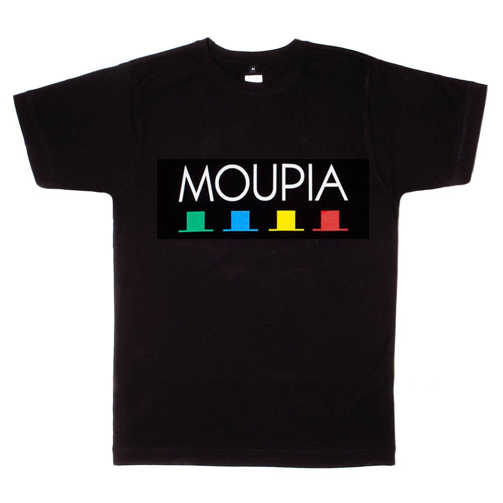 Image of MOUPIA 4 Hats logo Tee BLACK
