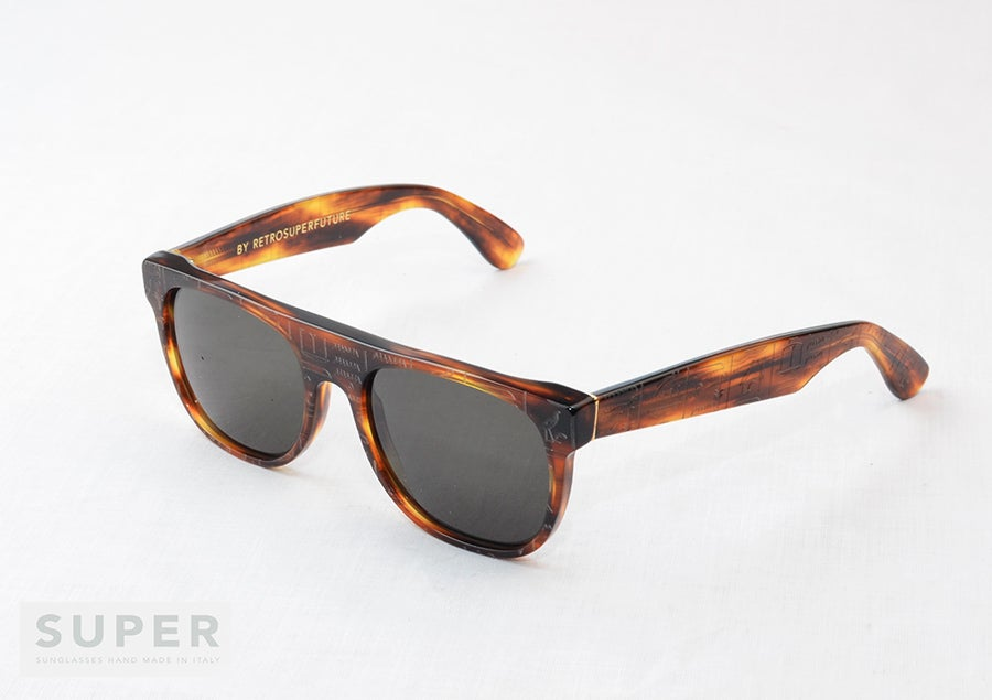 Image of SUPER Sunglasses FLAT TOP Tobacco Hieroglyphics BY RETROSUPERFUTURE