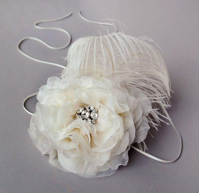 Image of Della Ivory Silk Chiffon Fascinator