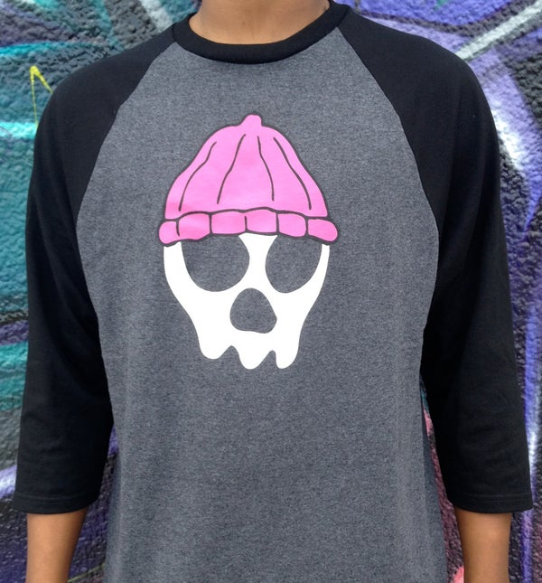 Image of JIMBO SKULLY RAGLAN BASEBALL TEE