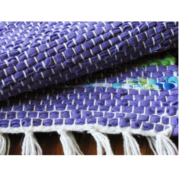 Image of Handwoven Rag Rug - Purple, lime, lavender, blue / Eco-Friendly upcycled fabric
