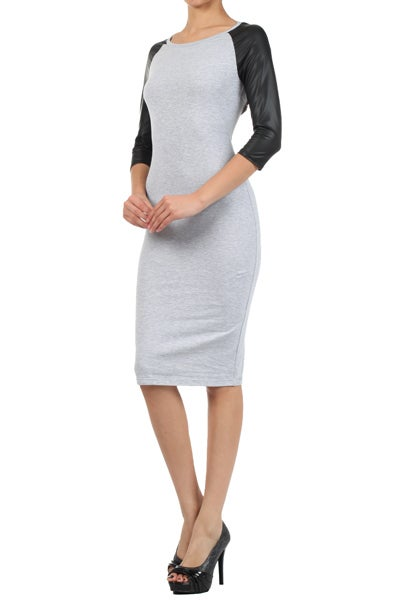 Image of Heather Grey Dress W/ Faux Leather Sleeves
