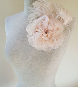 Image of Dina Pearl Blush Feathered Fascinator