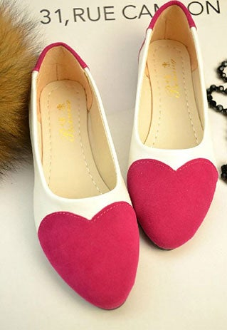 Image of [grzxy61900061]Sweet Cute Heart Pattern Pointed-toe Loafers
