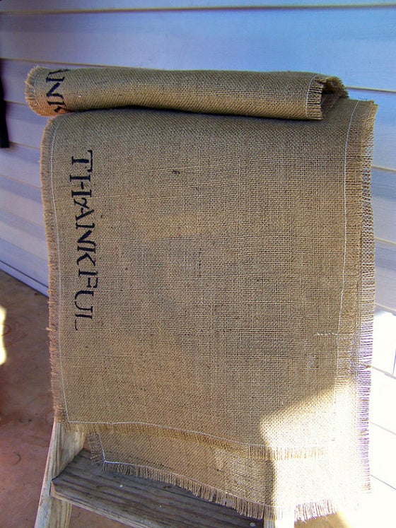 Image of Thanksgiving Burlap Table Runner