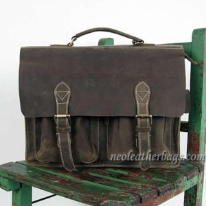 "Image of Vintage Handmade Crazy Horse Leather Briefcase Messenger 14"" 15"" Laptop 13"" 15"" MacBook Bag (n67-10)"