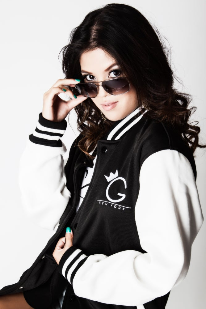 Image of VARSITY JACKET.. BLACK AND WHITE