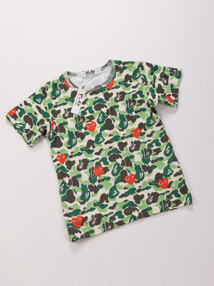 863614b02 Bape APE x Comme des Garcons CDG Play Logo Camo T-shirt / Maison-Blanche