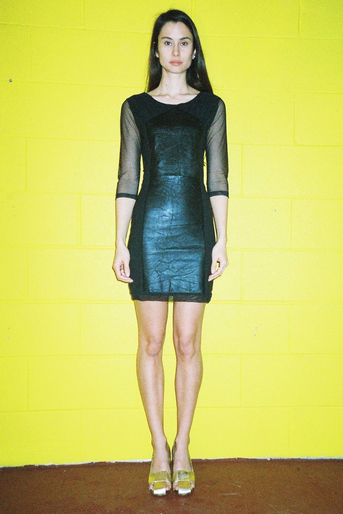 Image of Leather, Lycra & Mesh Dress