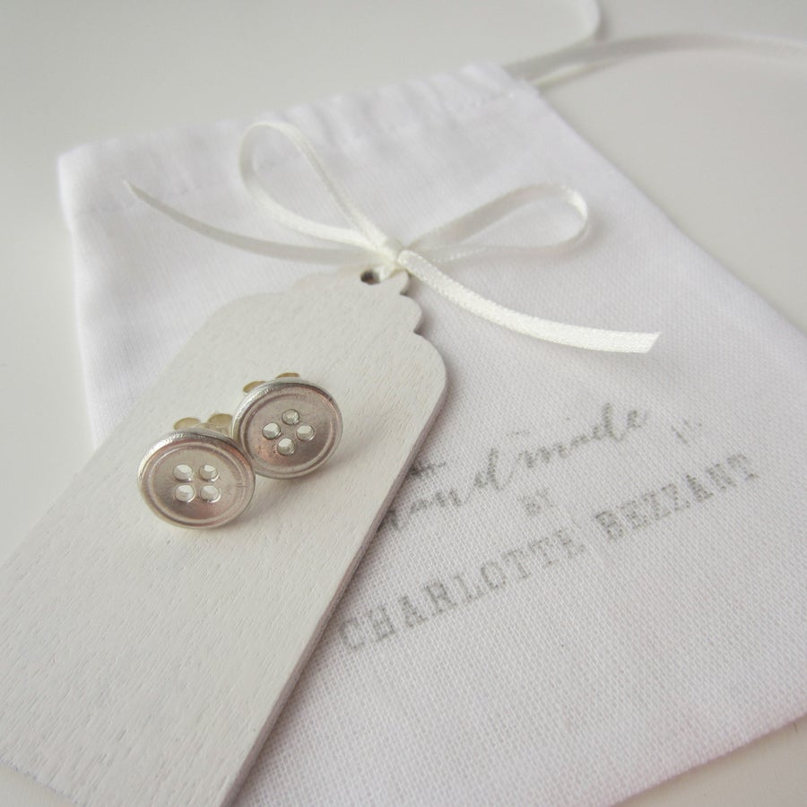Image of silver large button earrings