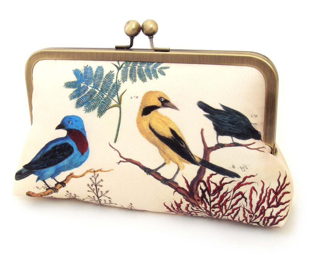 Image of Clutch bag, printed silk purse, blue and yellow birds