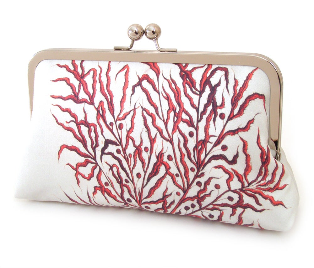 Image of Red coral silk clutch bag