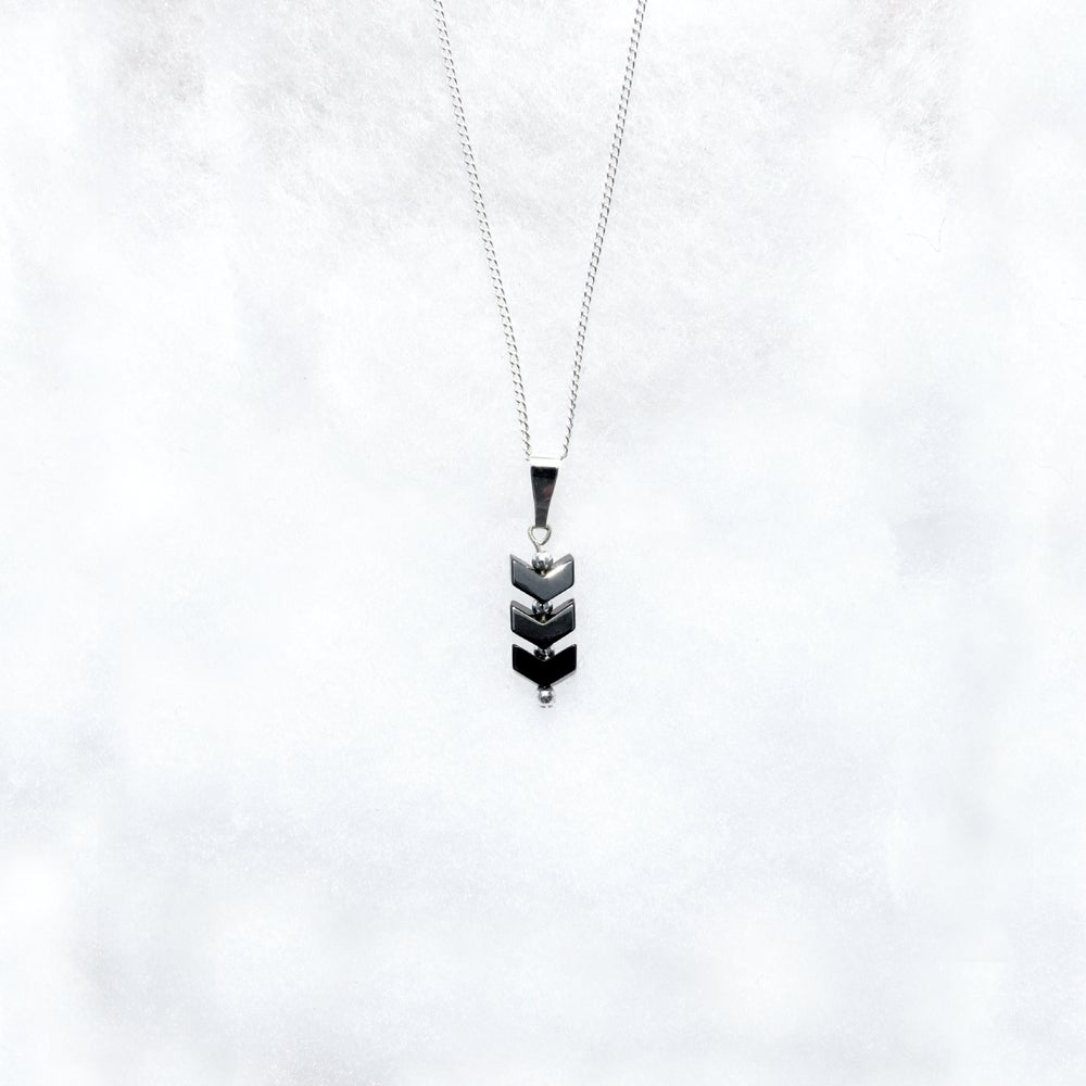 Image of Black Chevron Necklace, Hematite Chain Necklace
