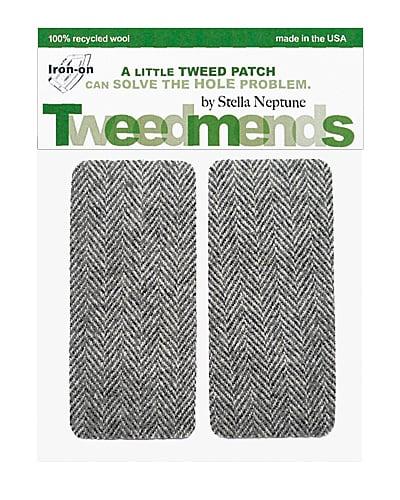 Image of Iron-on Wool Patches - Medium Grey Herringbone - Limited Edition!