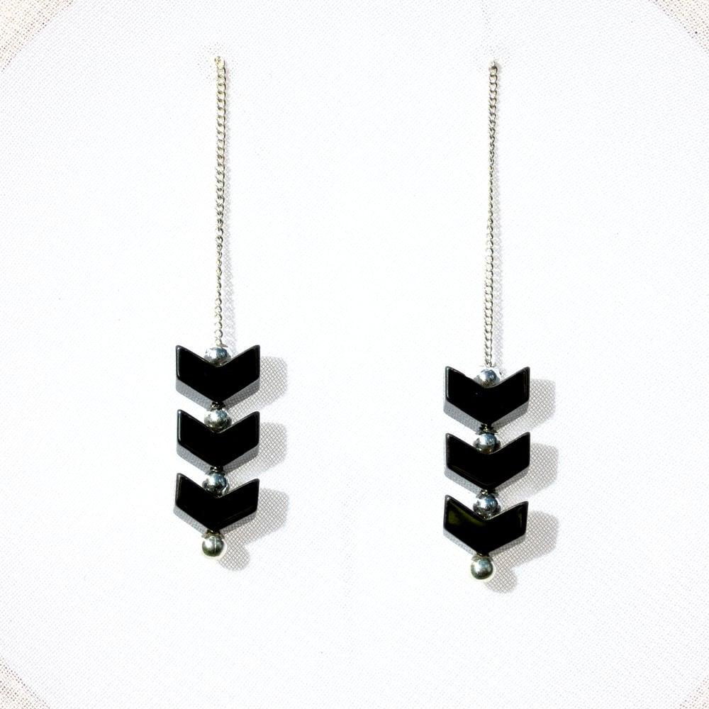 Image of Hematite Chevron Earrings, Contemporary Jewelry