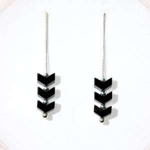 Image of Hematite Chevron Earrings, Contemporary Jewelry