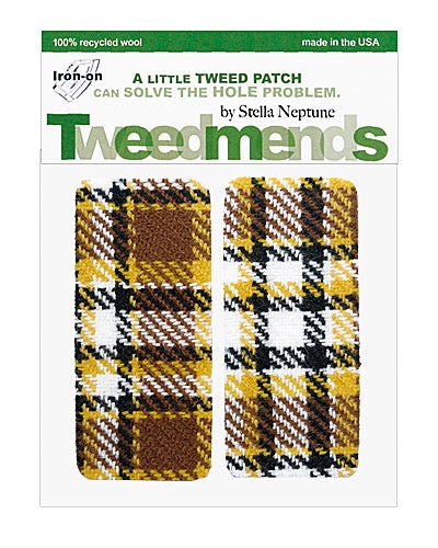 Image of Iron-on Wool Elbow Patches - Vintage Brown & Yellow Plaid- Limited Edition!