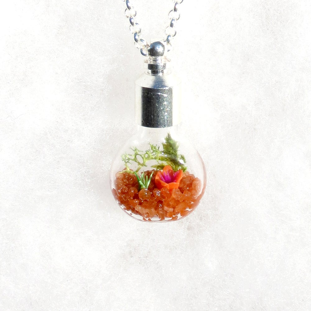 Image of Ecosystem Necklace, Orange Glass Moss Garden Necklace