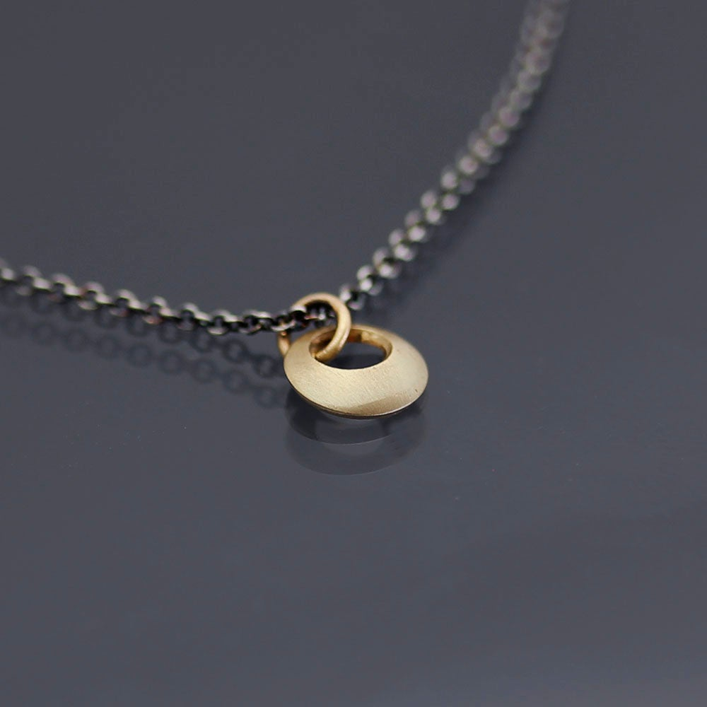Image of Tiny 14k Gold and Sterling Loop Necklace