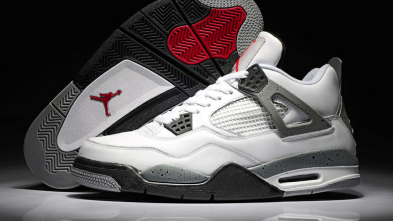Image of Retro Air Jordan 4 Chalcedony Edition for Men in White Red Black