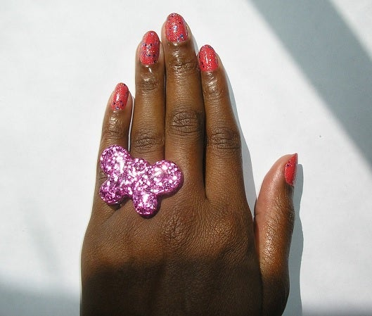 Image of handmade pink glitter resin epoxy flying butterfly silver ring