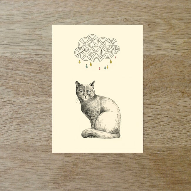 Image of Carte postale simple Chat et nuage