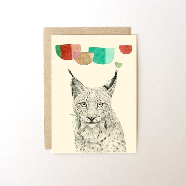 Carte postale Lynx + enveloppe   Briki Vroom Vroom