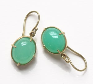 Image of Chrysoprase Oval Cabochon Minimal Earrings 18k