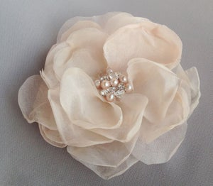 Image of Aria Pink Blush Silk Flower Rhinestone Gemstone and Pearl Bridal Hair Clip