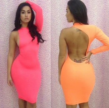 Image of Neon Side Cut Bodycon Dress