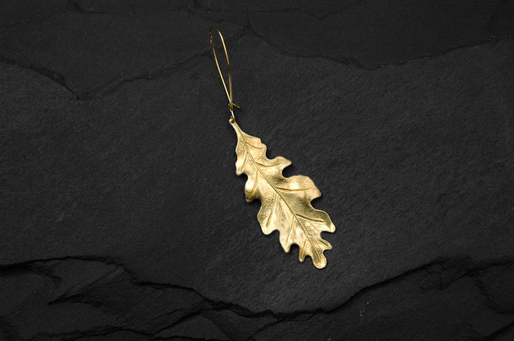Image of Oak leaf earring in brass