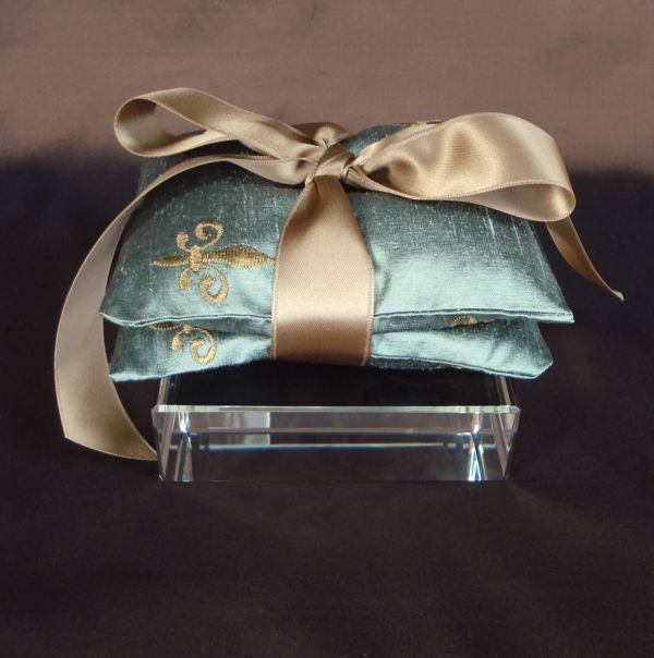 Image of Robin's Egg Blue Embroidered Silk Dupioni Fleur de Lis Dried Lavender Sachet