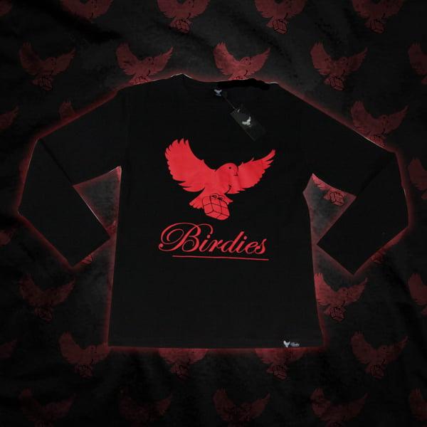Image of Black/Red Birdies LongSleeve Shirt