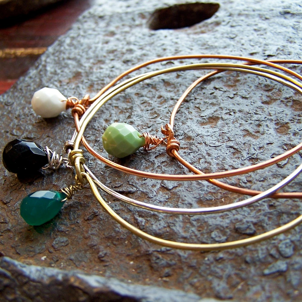 Image of Latch Bangle: Droplet. Choose your Color. Choose your finish.