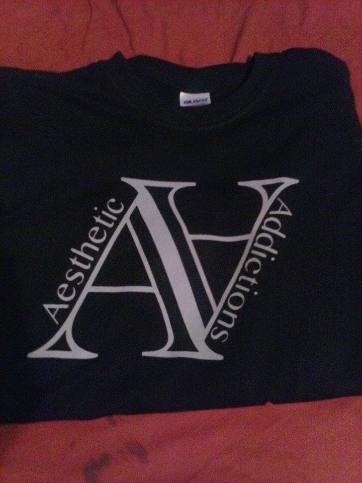 Image of aesthetic addictions logo shirt