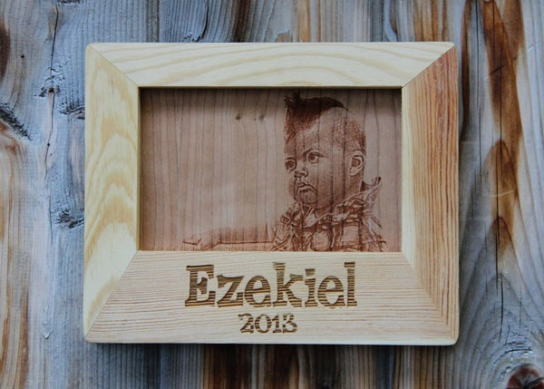 """Image of Custom Photo Engraved on Wood with Personalized Frame - 4 x 6"""""""