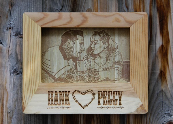 """Image of Custom Photo Engraved on Wood with Personalized Frame - 5 x 7"""""""