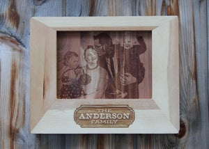 Image of Custom Photo Engraved on Wood with Personalized Frame - 5 x 7""