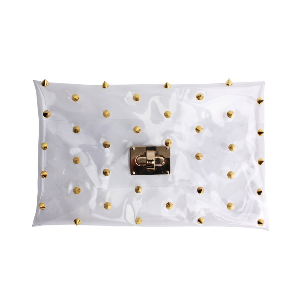 Image of Pattern Gold Spiked Clear Clutch